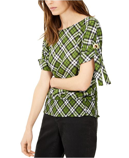 Michael Kors Plaid Grommet-Sleeve Top, Regular & Petite