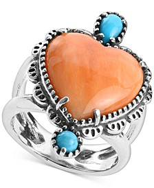 Orange Spiny Oyster and Turquoise Heart-Shape Statement Ring in Sterling Silver