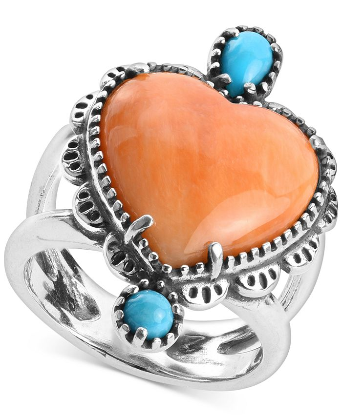 American West - Orange Spiny Oyster and Turquoise Heart-Shape Statement Ring in Sterling Silver