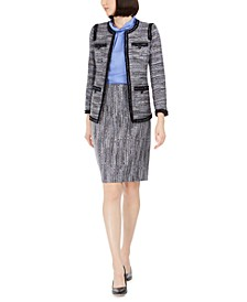 Contrast-Trim Tweed Jacket, Twist-Collar Top & Tweed Pencil Skirt