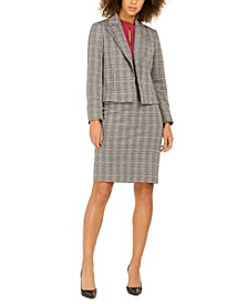 Notch-Collar Plaid Jacket, Keyhole Blouse & Plaid Pencil Skirt