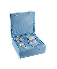 Noble Gems Glass Baby Boy 4-Piece Ornament Set