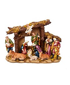 Resin Nativity Set with Figures and Stable - 11-Piece Set