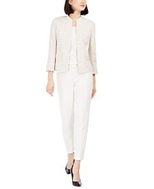 Tweed Open-Front Jacket, Woven Top & Straight-Leg Pants