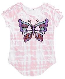 Big Girls Flip Sequin Tie-Dyed Butterfly T-Shirt