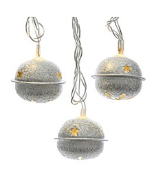10-Light Silver Bell With Warm White LED Light Set