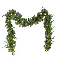9-Foot Sierra Green Garland With 50 Warm White LED Lights