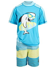 Toddler & Little Boys 2-Pc. Shark Rash Guard & Striped Swim Trunks Set