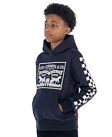 Big Boys Checkered Sueded Fleece Logo Hoodie