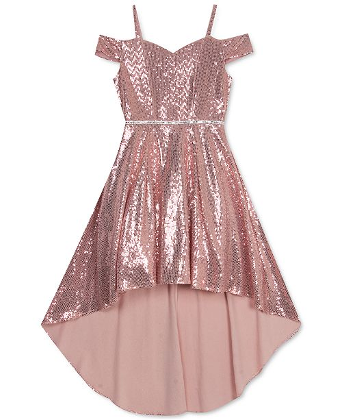 Rare Editions Big Girls High-Low Glitter Dress