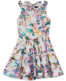 Little Girls Metallic Floral-Print Skater Dress