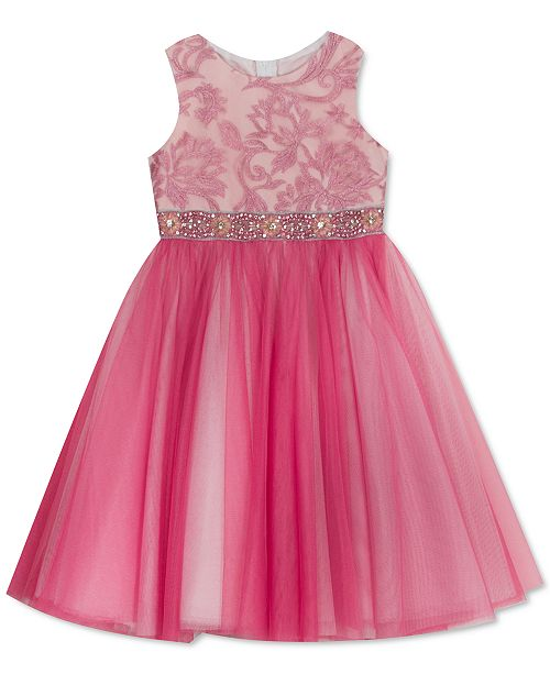 Rare Editions Toddler Girls Embroidered Sparkle Tulle Dress