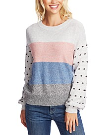 Striped Pom-Pom Cotton Sweater