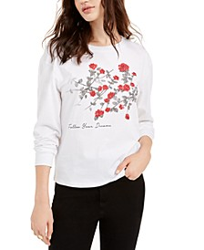 Juniors' Graphic-Print Long-Sleeve Cotton T-Shirt
