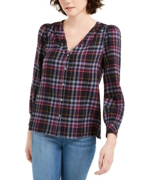 Image of 1.state Cotton Flannel Plaid V-Neck Top