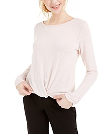 Juniors' Twist-Front Ruched-Sleeve Top