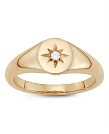 Diamond Accent Starburst Pinky Ring in 14K Yellow Gold