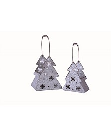Metal  Silver Christmas Tree Containers - Set of 2