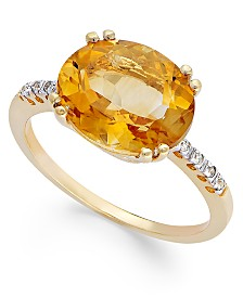 14k Gold Ring, Citrine (3 ct. t.w.) and Diamond Accent Oval Ring