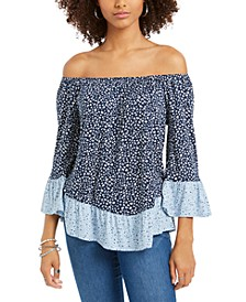 Printed On/Off-The-Shoulder Top, Created for Macy's