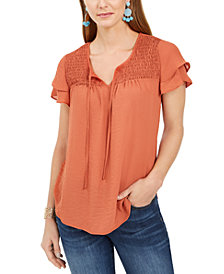 Style & Co Smocked Flutter-Sleeve Top, Created for Macy's