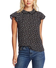 Printed Flutter-Sleeve Collared Top