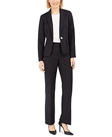 Petite Pinstripe One-Button Pantsuit