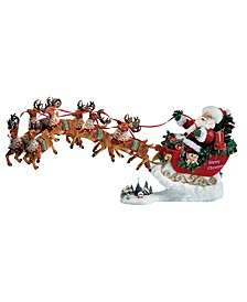 24-Inch Fabriché Musical Santa with Eight Reindeer, Set of 2 Pieces