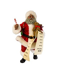 10.5-Inch Fabriché Black Santa with List and Candy Cane