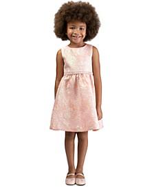 Little Girls Bow-Back Brocade Dress