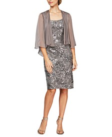 Sequinned Lace Sheath Dress & Jacket