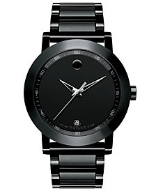 Movado Men's Swiss Museum Sport Black PVD-Finish Stainless Steel Bracelet Watch 42mm 0606615