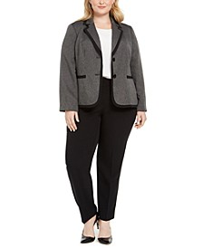 Plus Size Two-Button Contrast-Trim Pantsuit