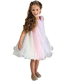 Toddler Girls Pleated Rainbow Trapeze Dress