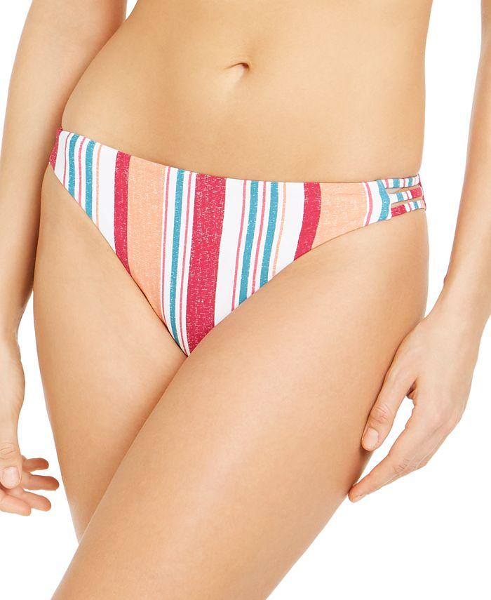 Roxy - Juniors' Striped Strappy Bikini Bottoms