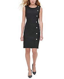 Button-Trim Sheath Dress
