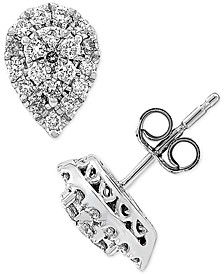 Lab Created Diamond Pear Cluster Stud Earrings (3/8 ct. t.w.) in Sterling Silver