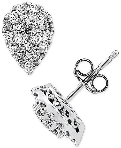 Forever Grown Diamonds Lab Created Diamond Pear Cluster Stud Earrings (3/8 ct. t.w.) in Sterling Silver