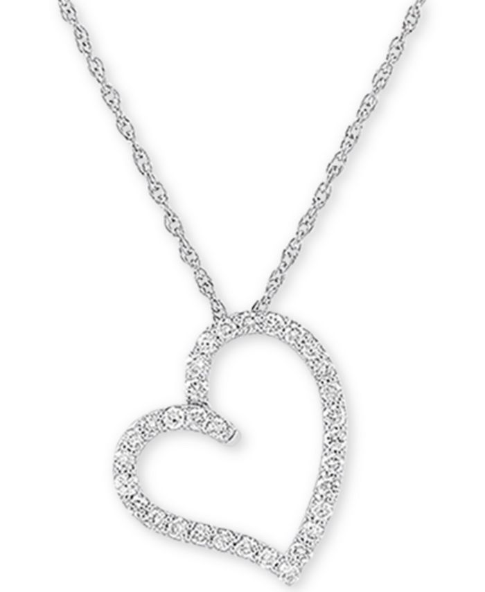 """Forever Grown Diamonds - Lab-Created Diamond Heart 18"""" Pendant Necklace (1/2 ct. t.w.) in Sterling Silver"""