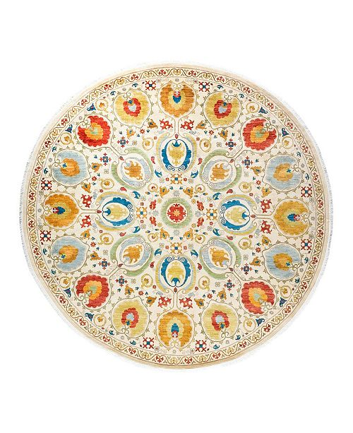 """Timeless Rug Designs One of a Kind OOAK1796 Tangerine 10'1"""" x 10'1"""" Round Rug"""