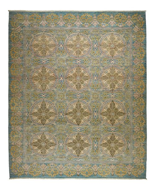 "Timeless Rug Designs One of a Kind OOAK2348 Teal 9'2"" x 11'2"" Area Rug"