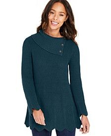 Petite Envelope-Neck Scalloped-Edge Sweater, Created For Macy's