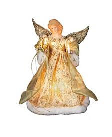 UL 10-Light 12-Inch Gold Dress Angel Treetop