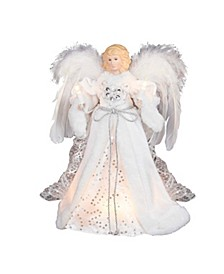 12-Inch UL 10-Light White and Silver Angel Treetop
