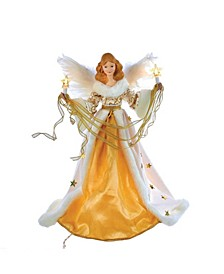 10-Light 16-Inch Cream and Gold Angel Treetop