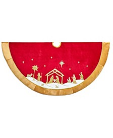 48-Inch Red and Gold Religious Tree Skirt