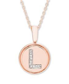 Diamond Accent Initial Pendant in 14k Rose Gold