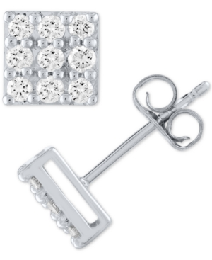 Lab Grown Square Diamond Cluster Stud Earrings (1/2 ct. t.w.) in Sterling Silver