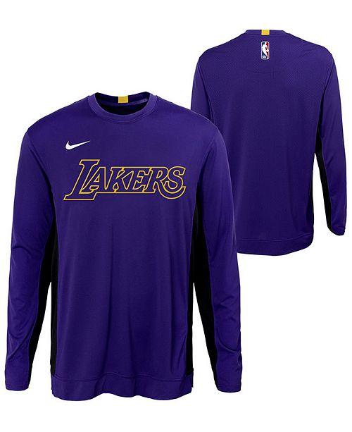 Nike Big Boys Los Angeles Lakers Long Sleeve Shooter T-Shirt