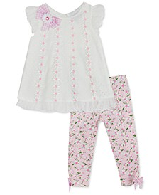 Baby Girls 2-Pc. Embroidered Daisy Top & Daisy-Print Leggings Set